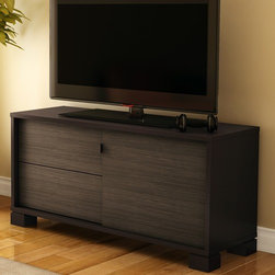 "South Shore - Agora 47"" TV Stand - With its clean lines, this modern and highly functional TV stand provides a unique blend of Zen and contemporary styles. The piece features a special power bar compartment on the lower wall shelf to keep wiring hidden from sight for a neat and ordered look. The included shelf can be installed at the desired height, making it a versatile design element. This TV stand comes in a Chocolate finish. Its sliding door and drawer fronts in an exotic Zebrano finish provide a touch of originality. Where space allows, place two stands side by side for an elongated and cohesive look. This item is both elegant and practical, making it a perfect choice for your living room your friends and family will envy you!. Features: -Made of non-toxic materials and components.-Two drawers with metal slides for smooth gliding.-Drawers with magnetic touch latches instead of handles for easy opening.-Sliding door that can hide or reveal your electronics.-Accommodate LCD plasma televisions up to 50''.-Eco-friendly.-EPP-compliant.-Forest stewardship council (FSC) certification.-Chocolate finish.-Distressed: No.-Collection: Agora.-Country of Manufacture: Canada.Dimensions: -Drawer interior dimensions: 20.37'' W x 13.625'' D.-Overall Product Weight: 109.00 lbs.Warranty: -Manufacturer provides five year warranty."