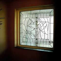 Hozlgrefe Leaves - Textured glass with a leaf design, part of our bathroom windows collection.