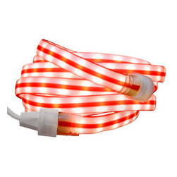 Christmas LED Rope Lighting - Deck your halls with a Christmas rope light that looks like a ribbon of candy cane. The 13 feet of incandescent clear bulbs runs through a one-inch wide red and white striped vinyl tube. UL listed for both indoor and outdoor use, the rope light comes with a polarized plug, and up to 150 feet of this rope wire can be combined. The package comes with 6 mounting clips with screws and 6 wire ties for easy application on a fence or house trim. Let this fun candy cane swirl through your holiday lighting display this season and for many years to come.