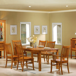 "Wildon Home � - Clark 7 Piece Dining Set - This dining table and chair set has a traditional mission style. A smooth rectangular table top has smooth straight edges, with a slat detail on the apron for a touch of distinction. Simple square legs complete the look. The matching arm and side chairs have slatted backs, and wooden seats to create the classic mission style. Place this warm and inviting dining set in your home for an instant style update. Features: -Includes 1 dining table, 4 side chairs and 2 arm chairs . -Mission style. -Medium Brown finish. -Constructed from solid hardwood. -Slatted chair backs. -Smooth top with straight edge. Dimensions: -Dining Table: 40"" W x 70"" D. -Side Chair: 39"" H x 19.5"" W x 21"" D. -Arm Chair: 39"" H x 21.5"" W x 21"" D."