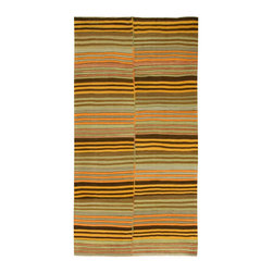"""Consigned Vintage Turkish Kilim, 5' x 9'10"""" - This vintage Turkish kilim was handwoven in the 1940s. Colors yellow/salmon/multi"""
