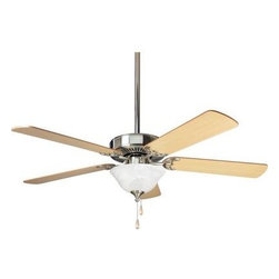 Progress Lighting - Indoor Ceiling Fans: Progress Lighting AirPro Builder 52 in. Brushed Nickel Ceil - Shop for Lighting & Fans at The Home Depot. AirPro ceiling fans offer great performance and great value. Fan features a powerful, 3-speed motor that can be reversed to provide year-round comfort. Includes innovative canopy system that can be installed on vaulted ceilings up to 12:12 pitch; additionally, the fan can be installed with no downrod to accommodate lower ceilings.