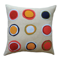 Balanced Design - Felt Appliqué Linen Pillow - Mona, 22 x 22 - Apply bright pops of color and handmade style to your sofa, bed or chair. Wool felt circles in bright colors are stitched onto greige organic linen for modern-meets-natural appeal. Each pillow features a zipper closure and ecofriendly insert and comes in a choice of two sizes.