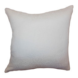 """The Pillow Collection - Paris Crewel Pillow Snow 18"""" x 18"""" - This crewel throw pillow is a refreshing decor to add to your home. This contemporary accent pillow features a floral crewel pattern set against a snow background. This decor pillow is easy to coordinate with other prints like ikats, toiles, animal and more. The 18"""" pillow is made from 100% soft cotton fabric. Create an instant decor style makeover with this gorgeous throw pillow. Hidden zipper closure for easy cover removal.  Knife edge finish on all four sides.  Reversible pillow with the same fabric on the back side.  Spot cleaning suggested."""