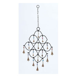 "Benzara - Metal Bead Wind Chime with Colorful Beads - Trendy and modern, this metal bead wind chime displays great elegance and highlights your living space with adorable decoration. This delightful wind chime is ideal to create a great ambiance in your living room, or for outdoor areas like patio or porch. It creates conducive environs in your home. Sporting an exclusive design with elegant curves, at least nine bells hang inside the curves and seven bells are attached to its lower end. This wind chime certainly looks gorgeous and creates an appealing sound. It's provided with a long chain link, and you can hang this wind chime at any desired place. This decorative piece is sure to enliven your living space with great beauty. Its sturdy and durable construction with high quality metal provides long lasting performance year after year..; Exclusively designed with elegant curves; Bells are linked with colorful beads; Creates a calm rhythmic sound; long lasting performance; Weight: 0.71 lbs; Dimensions:12""W x 1""D x 26""H"