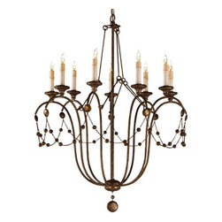 Arteriors Home - Arteriors Home Devon 9L Chandelier - Arteriors Home 89305 - If your style is traditional, that doesn't mean you have to have a chandelier dripping with crystals. Sometimes a simple metal one with just a few faux crystals can make a nice counterpoint in your room. This chandelier has swags of hammered iron beads and faux dripping wax candle sleeves to replicate that old world feeling.
