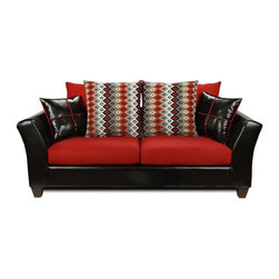 Chelsea Home - Contemporary Sofa with Pillows - Vinyl, 100 % poly fabric. Kiln dried hardwoods frame. 1.5 density dacron wrapped cushions. Medium seating comfort. N sag steel springs provide comfortable and uniform seating. Made in USA. No assembly required. 80 in. L x 34 in. W x 34 in. H (150 lbs.)