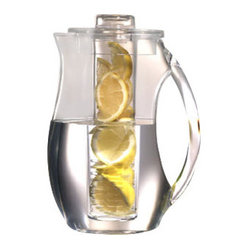 PRODYNE - 2-Quart Acrylic Fruit Infusion Pitcher - If your home is your castle, it can also be your spa. Pour yourself a calming glass of infused water to replenish your system and soothe your mind next time you indulge in a little pampering. This streamlined infusion pitcher lets your eyes drink in the beauty of fresh fruit while you drink up a delightful and healthy beverage.