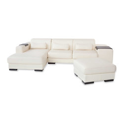 Zuri Furniture - White Dublin Sectional Sofa with Ottoman - Let comfort and luxury be your guide with the Dublin sofa. It's unique features such as adjustable headrests and side arm tables, make it an instant favorite!