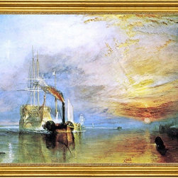 """Joseph William Turner-18""""x24"""" Framed Canvas - 18"""" x 24"""" Joseph William Turner The Fighting """"Temeraire"""", Tugged to her Last Berth To Be Broken Up, 1838 framed premium canvas print reproduced to meet museum quality standards. Our museum quality canvas prints are produced using high-precision print technology for a more accurate reproduction printed on high quality canvas with fade-resistant, archival inks. Our progressive business model allows us to offer works of art to you at the best wholesale pricing, significantly less than art gallery prices, affordable to all. This artwork is hand stretched onto wooden stretcher bars, then mounted into our 3"""" wide gold finish frame with black panel by one of our expert framers. Our framed canvas print comes with hardware, ready to hang on your wall.  We present a comprehensive collection of exceptional canvas art reproductions by Joseph William Turner."""