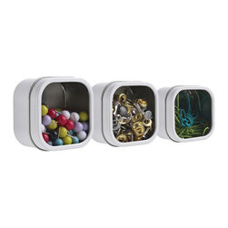 Modern White Magnetic Storage Tins Set Of 3 - Organize your office supplies, sewing & craft items, beads, jewelry with these Hold Up Magnetic Storage Tins.