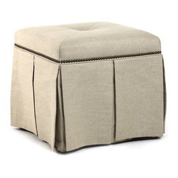 Kathy Kuo Home - Raquel Hollywood Regency Linen Kick Pleat Ottoman - The understated glamour of this ottoman comes from its rich finishes, like its inverted skirt pleating, linen upholstered cushion and polished nail accents. This ottoman will add vintage style to your modern living space.