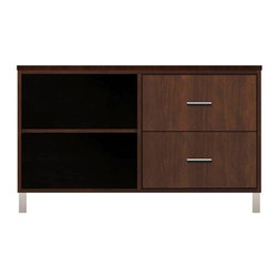 Howard Miller Custom - Kelsey Cabinet in Espresso - This cabinet is finished in Espresso on select Hardwoods and Veneers, with Nickel hardware. 2 flat panel drawers. 1 adjustable interior shelf. Flat profile top and metal leg base. Hardware: bar pulls on drawers. Features metal drawer glides and metal shelf clips. Simple assembly required. 47 1/4 in. W x 21 3/4 in. D x 29 1/4 in. H