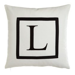 """Eastern Accents - Pillow with Embroidered Initial 18""""Sq. - H - Eastern AccentsPillow with Embroidered Initial 18""""Sq."""