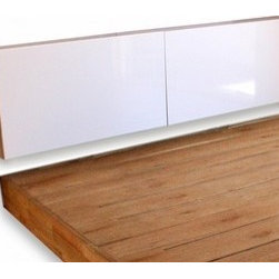 Mash Studios - Mash Studios | LAXseries Headboard Shelf with Cover - The LAXseries Headboard Shelf with Cover is wall-mounted and doubles as storage space. A sliding white aluminum panel keeps bedside essentials out of sight. Designed specifically for the LAXseries Platform Bed, sold separately.With an organic and minimalist aesthetic, the LAXseries promotes calm and reductive living with pieces that incorporate subtly into spaces, without distracting or overwhelming. Understated, yet refined, with no extraneous parts or superfluous additions.Expertly crafted from solid English walnut with a natural oil finish and white powder coated aluminum. Bed sold separately.