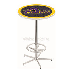 Holland Bar Stool - Holland Bar Stool L216 - 42 Inch Chrome East Carolina Pub Table - L216 - 42 Inch Chrome East Carolina Pub Table  belongs to College Collection by Holland Bar Stool Made for the ultimate sports fan, impress your buddies with this knockout from Holland Bar Stool. This L216 East Carolina table with retro inspried base provides a quality piece to for your Man Cave. You can't find a higher quality logo table on the market. The plating grade steel used to build the frame ensures it will withstand the abuse of the rowdiest of friends for years to come. The structure is triple chrome plated to ensure a rich, sleek, long lasting finish. If you're finishing your bar or game room, do it right with a table from Holland Bar Stool.  Pub Table (1)