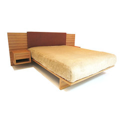 EcoFirstArt - Hollywood Bed - This luxurious bed has it all: A refined shape crafted from lovely sustainable wood, a soft ecofriendly foam headboard to rest your weary head and two attached nightstands with generous drawers. All that's missing is you.