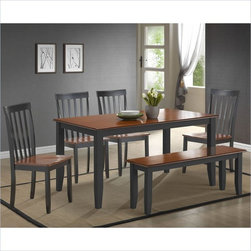 Boraam Bloomington 6 Piece Dining Set in Black/Cherry - A reliable 6 piece dining set with a versatile appearance and rich color finish is exactly what you'll find here. The Bloomington 6 piece set is the perfect size to gather loved ones around for all occasions. Engineered with solid hardwood and precision construction, equals a durable dining set that will surely stand the test of time. Additional stability is also provided through the shaker style legs of the table, chairs & bench. Its smooth lines and handsome appearance will undoubtedly boost the ambience of any dining area. Plus, its attractive two-toned color finish, makes it seamlessly transition with anyone's interior decor taste. Interested in making a 5 or 7piece set? Simply remove or replace the Bloomington Bench with two more Bloomington Chairs creating a 5pc or 7pc dining set. Either way, you can't go wrong. Stable with a classic look; this set is not a purchase, but an investment.