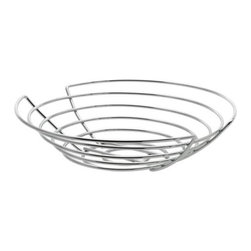 Blomus - WIRES Bowl Basket by Blomus - The WIRES Bowl Basket by Blomus is a modern household accessory. The metal wires bowl basket is a necessity for any kitchen and is great for storage and display. Blomus, headquartered in Germany, specializes in the design and manufacture of beautifully engineered home and office accessories in modern stainless steel styles.The WIRES Bowl Basket by Blomus is available with the following: Details:Chrome finishOptions:Size: Small, or LargeShipping:This item usually ships within 2-3 business days.Dimensions:Large: Height 2.8 in., Diameter 14 in. Small: Height 2.8 in., Diameter 12 in.