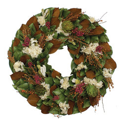 Magnolia Company - Terracotta Tuscany Wreath, 23x23 - Cream hydrangeas, artichokes, pepperberries, rust broomcorn and birch twigs intermingle together against a base of dried magnolia leaves to create this beautiful dried fall magnolia wreath. A different twist for this fall that will surely brighten up your cloudiest of days.