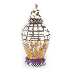 Garland Apothecary Jar - Large   MacKenzie-Childs - A harmonious trio! These curvaceous vessels of mouth-blown glass are handcrafted and meticulously decorated in Eastern Europe. Filled or not, they're showstoppers either way, with generous proportions, intricate detailing, and lots and lots of gold and platinum lustre accents.