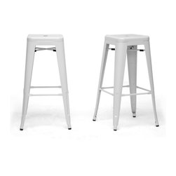 """Wholesale Interiors - French Industrial Modern Bar Stool in White, Set of 2 - We didn't think a piece of furniture could possess a skill such as talent until we met these spectacular seats. Cafe bar chairs. Industrial bar stools. Minimalist modern bar stools. You decide, because we think this design is skilled enough to be all of the above. This Chinese-built steel stackable bar stool is finished with a powder-coating of glossy, modern white. To clean, wipe with a damp cloth. Non-marking black plastic feet help protect sensitive flooring. The stools are fully assembled. The French Industrial Collection includes counter stools, bar stools, and dining chairs in a selection of colors including gray, bronze, gunmetal, and white. Product: 17"""" x 17""""D x 30.5""""H, seat dimension: 12""""W x 12""""D x 30.5""""H."""