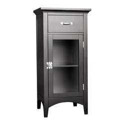Elegant Home Fashions - Madison Avenue Floor Cabinet with 1 Door and 1 Drawer - The Madison Avenue Floor Cabinet with One Door and One Drawer from Elegant Home Fashions has an elegant crown molded top and offers storage with style for your bathroom.  It is also very functional with one adjustable interior shelf.  Arched decorative skirt on bottom front and sides offers architectural elegance.  Teh cabinet features chrome finished knobs for easy opening. The metal glider drawer allows for easy open and close operation. This cabinet comes with assembly hardware.