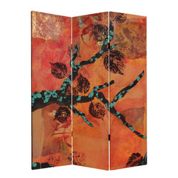 Oriental Furniture - 5 ft. Tall Rich Autumn Canvas Room Divider - Colors explode in this bold screen with an Asian flair. Red, gold, deep brown and orange energize this dynamic triptych. The artist has collaged printed leaves and beautiful hand painted papers together to make a zesty and glowing screen.