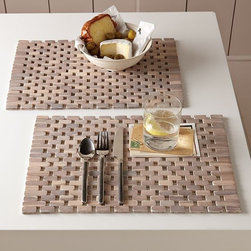 white washed wood placemats - Wood links form an open geometric pattern that lets your table show through.
