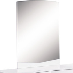 Global Furniture - Global Furniture USA Aurora Beveled Mirror in White - The Aurora bedroom collection has a modern sleek look while still offering functionality and extra storage. The glossy white finish and silver accents give this collection a modern sophisticated look that will compliment any home.