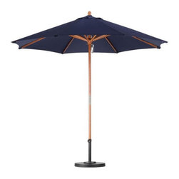None - Premium 9-foot Navy Blue Patio Umbrella with Base - Keep the sun out of your eyes when youre spending time outside with this premium blue patio umbrella. Its nine-foot diameter makes it the perfect canopy for your outdoor dining set,and its weatherproof construction means you can leave it up all year.