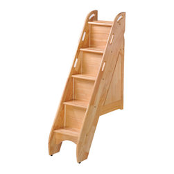Night And Day Furniture - Bunk Storage Stairs (For Use With Cinnamon Twin/Twin & Full/Full Only)-Natural - This optional upgrade to our Cinnamon twin/twin or Ginger full/full bunk beds adds storage, safety and style.