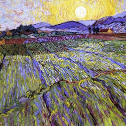 "Vincent Van Gogh A Wheat Field with Rising Sun  Print - 16"" x 20"" Vincent Van Gogh A Wheat Field with Rising Sun premium archival print reproduced to meet museum quality standards. Our museum quality archival prints are produced using high-precision print technology for a more accurate reproduction printed on high quality, heavyweight matte presentation paper with fade-resistant, archival inks. Our progressive business model allows us to offer works of art to you at the best wholesale pricing, significantly less than art gallery prices, affordable to all. This line of artwork is produced with extra white border space (if you choose to have it framed, for your framer to work with to frame properly or utilize a larger mat and/or frame).  We present a comprehensive collection of exceptional art reproductions byVincent Van Gogh."