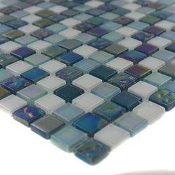 "Sample Whimsical Iridescent Teal - sample-WHIMSICAL IRIDESCENT TEAL 1/4 SHEET GLASS TILES SAMPLE You are purchasing a 1/4 sheet sample measuring approximately 6"" x 6"". Samples are intended for color comparison purposes, not installation purposes.-Glass Tiles -"