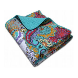 Greenland - Greenland Nirvana Accessory Throw - A sumptuous display of powerful paisleys, this quilted cotton throw combines vibrant colors in an enchanting motif. Reverses to coordinating solid turquoise for a calming, sophisticated look