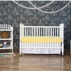 "DaVinci - Jenny Lind 3-in-1 Convertible Crib Set - This classic looking crib will be perfect for your baby. With DaVinci's Safety-Glide hardware system, the Jenny Lind 3-in-1 Convertible Crib is easy and safe to use. Complete your nursery with the matching Jenny Lind Changer! Furniture Features: -Jenny lind convertible crib and jenny lind changing table included in set. -Crib has a stationary side and adjustable 4-level mattress spring system. -Jenny lind changer includes 1"" Pad and safety belt. -Optional Toddler bed conversion rail . -Includes casters for easy mobility.. -Constructed from Asian Hardwood. -This is a NON-Drop Side crib. Dimensions: -Changing table: 37"" H x 37.5"" W x 19.75"" D, 29 lbs. -Crib: 41.13"" H x 52"" W x 54.63"" D, 39 lbs. ***Please note that these products cannot be shipped to Alaska, Hawaii, or Puerto Rico. We apologize for the inconvenience - feel free to call us regarding alternatives! This Crib is approved for use in the United States."