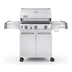 Weber - S-330 Genesis Gas Grill, Side Burner | Stainless Steel | 6570001 | LP - Features Include : Stainless Steel burners and flavorizer bars a center-mounted thermometer heavy-duty casters stainless steel work surfaces and an enclosed tank storage area. A 12000 btu-per-hour input flush-mount side burner for cooking side dishes and sauces is also featured. Standard Features:
