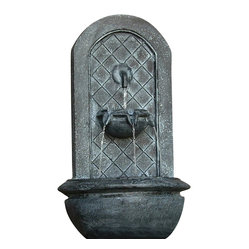 "Serenity Health & Home Decor - Marsala Outdoor Wall Fountain Lead - Dimensions: 18""Wide x 10.5"" Deep x 25.5""High, 10 lbs"