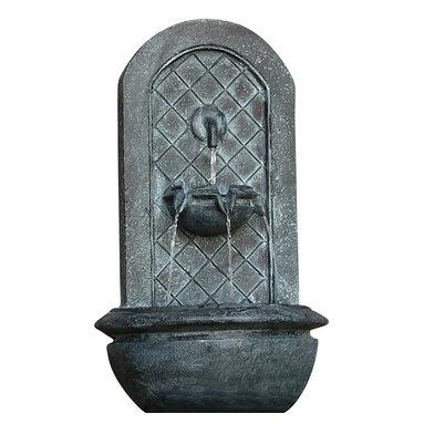 "Sunnydaze Decor - Marsala Outdoor Wall Fountain Lead - Dimensions: 18""Wide x 10.5"" Deep x 25.5""High, 10 lbs"