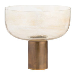 Arteriors - Heather Centerpiece - This beautiful silveria mouth blown glass bowl sits atop an antique brass cylinder. The juxtaposition of the materials and the dimensions make this a most unique centerpiece. Stand alone or fill with florals or fruits. Decorative use only.