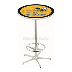 Holland Bar Stool - Holland Bar Stool L216 - 42 Inch Chrome Georgia Tech Pub Table - L216 - 42 Inch Chrome Georgia Tech Pub Table  belongs to College Collection by Holland Bar Stool Made for the ultimate sports fan, impress your buddies with this knockout from Holland Bar Stool. This L216 Georgia Tech table with retro inspried base provides a quality piece to for your Man Cave. You can't find a higher quality logo table on the market. The plating grade steel used to build the frame ensures it will withstand the abuse of the rowdiest of friends for years to come. The structure is triple chrome plated to ensure a rich, sleek, long lasting finish. If you're finishing your bar or game room, do it right with a table from Holland Bar Stool.  Pub Table (1)