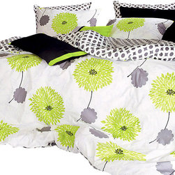 Silver Fern Decor - Lime Green Floral Duvet Cover Set, King - 1100TC Duvet Cover Set Includes: - 1 Duvet Cover: lime green floral pattern on front (gray & white circle pattern on back) - 2 Sham Covers: lime green floral pattern ( * Available in queen, king size)