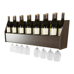 """Prepac - Prepac Floating Wine Rack in Espresso - Display your finest bottles of wine and liquor with this clever Floating Wine Rack. This wall mounted rack has a compact design to conserve space in your bar, living room, kitchen or dining area. With its sturdy construction you can display up to 18 standard 750ml bottles of wine or spirits. Keep a variety of stemmed glasses at hand by sliding them into the hidden channel underneath. This product ships """"Ready to Assemble"""" with an instruction booklet for easy assembly. Installation is easy with Prepac's hanging rail system.  What's included: Wine Rack (1)."""