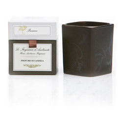 Prosecco Candle 8 oz. - Bringing the aroma of the Prosecco fragrance, a clear-as-a-bell Italian-inspired mixture of champagne bubbles, white wine, apricots, currants, satsuma, and muguet blossoms, to the transitional home, the Prosecco Candle burns within an aptly-styled candle holder.  Rounded yet geometric, floral yet unisex, the candle holder is a perfect complement to this luxe fragrance.