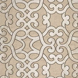Schumacher - Amboise Linen Embroidery Fabric, Greige - 2 Yard Minimum Order