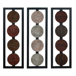 Benzara - Wood Wall Panel 3 Assorted Anytime Wall Decor Refresh - WOOD WALL PANEL 3 ASST a set of three is an excellent anytime low priced wall decor upgrade option that is high in modern age decor fashion. It is designed over three metallic rectangular frames.