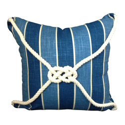 PillowFever - Blue pillow cover in blue stripes with cotton rope accent. - This beautiful pillow will compliment any beach house, any nautical design and brighten up room with light and deep blue colors, the knot symbolizes luck.