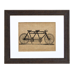Fiber and Water - Vintage 1940'S Tandem Bicycle Art - This lovely sketch of a 1940s tandem bicycle hand-printed onto burlap is loaded with rustic charm. Ready to hang in a matching distressed black wood frame and white matte, it would look beautiful next to traditional cottage-style furnishings or antique pictures.