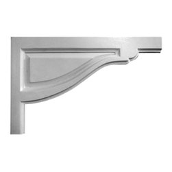 """Ekena Millwork - 11 3/4""""W x 7 3/8""""H x 1/2""""D Large Traditional Stair Bracket, Right - 11 3/4""""W x 7 3/8""""H x 1/2""""D Large Traditional Stair Bracket, Right. With the beauty of original and historical styles, decorative stair brackets add the finishing touch to stair systems. Manufactured from a high density urethane foam, they hold the same type of density and detail as traditional plaster stair bracket products. They come factory primed and can be easily installed using standard finishing nails and/or polyurethane construction adhesive."""