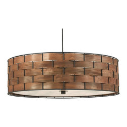 Kenroy - Kenroy KR-92038DWW Shaker 3 Light Pendant - A chunky basket weave with a rich wood grained glow form this stunningly simple and elegant drum pendant. Delicate real wood strips thread around a sturdy metal frame.